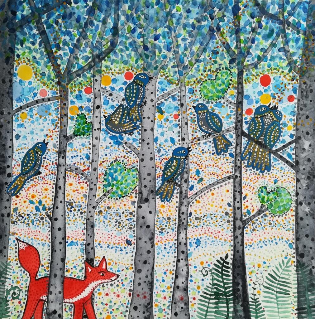 7 oiseaux et un renard dans la forêt